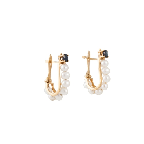 24 - A PAIR OF SAPPHIRE AND PEARL EARRINGS, of elongated hoop design, mounted in 18ct gold...