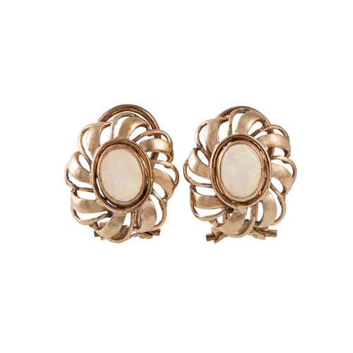 27 - A PAIR OF OPAL EARRINGS, mounted in gold, clip on fittings...