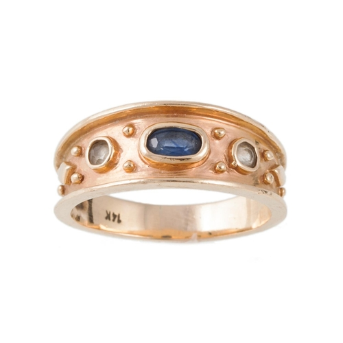 3 - A SAPPHIRE DRESS RING mounted in 14ct gold, size R....