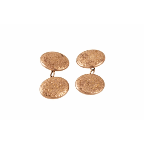 37 - A PAIR OF EDWARDIAN 9CT GOLD CUFFLINKS, engraved design, Chester 1904...