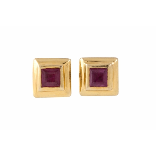 43 - A PAIR OF RUBY EARRINGS, princess cut in 18ct yellow gold...