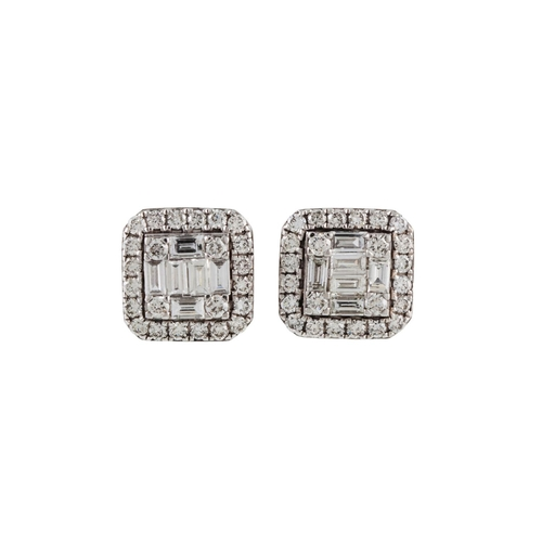44 - A PAIR OF DIAMOND CLUSTER EARRINGS, with baguette and brilliant cut diamonds of approx. 1.40 ct in t...