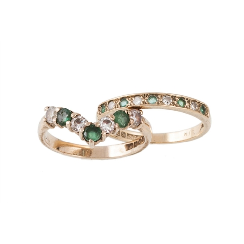 5 - AN EMERALD AND DIAMOND HALF ETERNITY RING mounted in 9ct gold, size O, together with a gem set etern...