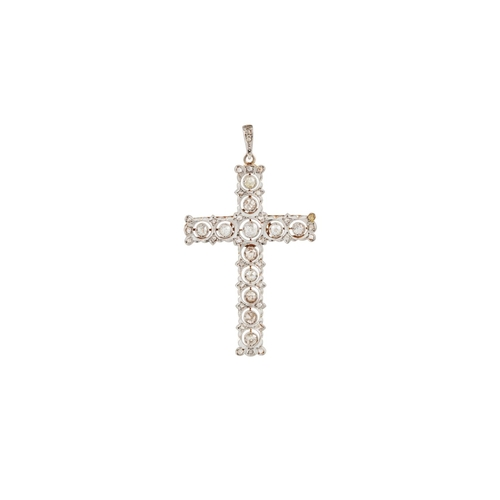 50 - AN ANTIQUE DIAMOND CROSS, with old cut diamonds of approx. 2.50 ct in total, mounted in gold....