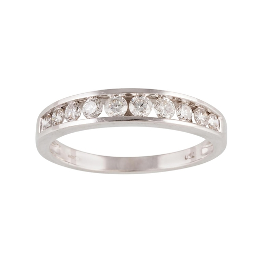 10 - A DIAMOND HALF ETERNITY RING, mounted in 18ct white gold. Estimated weight of diamonds: 0.50 ct, siz...