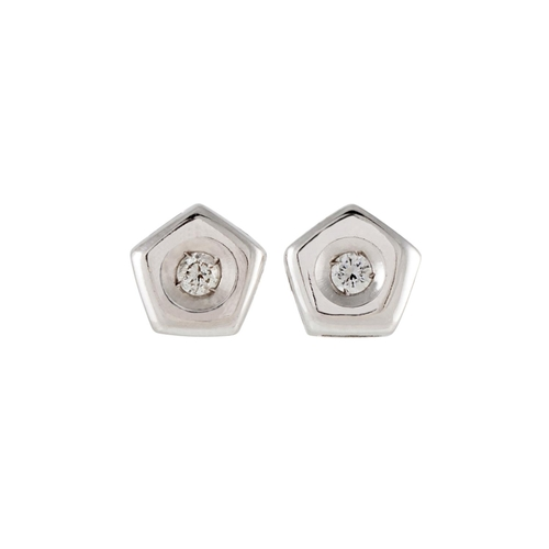 15 - A PAIR OF PENTAGONAL DIAMOND STUD EARRINGS, mounted in 18 ct white gold, circa 6mm overall size. Est...