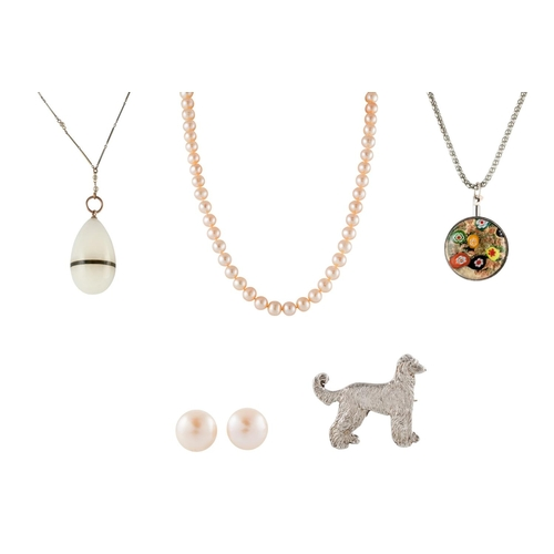 17 - A SILVER AFGHAN HOUND, quartz egg pendant and chain, freshwater cultured pearl necklace, earrings, f...