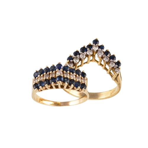 18 - A SAPPHIRE AND DIAMOND RING, together with another...