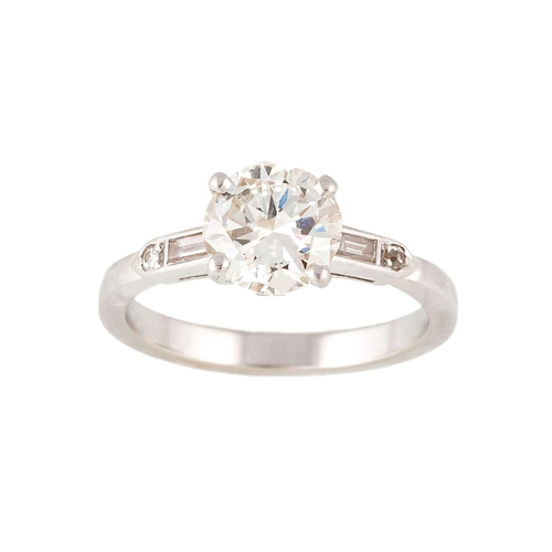 20 - A DIAMOND SOLITAIRE RING, mounted in white metal, Estimated weight of diamond: 1.40 ct, I/J VS....
