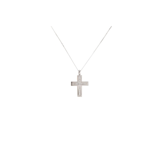 23 - A DIAMOND SET CROSS, the brilliant cut diamonds mounted in 18ct white gold, on a white gold chain...