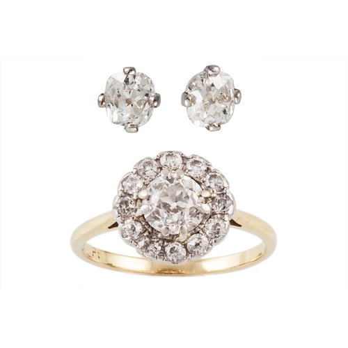37 - A PAIR OF DIAMOND STUD EARRINGS, set with old cushion cut diamonds, mounted in white gold. Estimated...