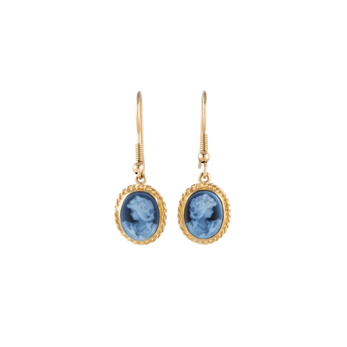 40 - A PAIR OF CAMEO DROP EARRINGS, mounted in yellow gold...