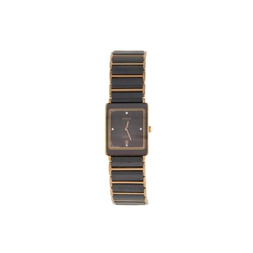 45 - A LADY'S RADO JUBILEE WRIST WATCH, diamond dot numerals, black dial, bracelet strap, boxed with inst...