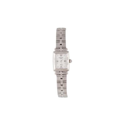 46 - A LADY'S RAYMOND WEIL WRIST WATCH, diamond dot numerals, white dial, bracelet strap, boxed...