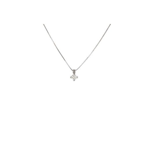 53 - A DIAMOND SET PENDANT, the brilliant cut diamond mounted in 18ct white gold. Estimated; weight of di...