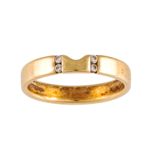 6 - AN 18CT YELLOW GOLD RING, with diamond detail, size P....