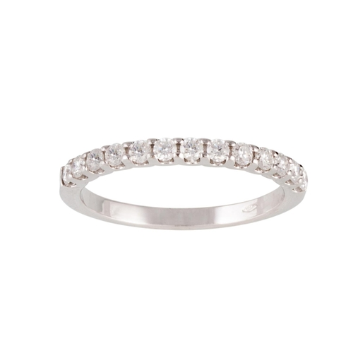 60 - A DIAMOND HALF ETERNITY RING, the brilliant cut diamonds mounted in 18ct white gold. Estimated; weig...