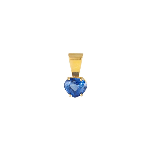7 - A SAPPHIRE PENDANT, the pear shaped sapphire mounted in 18ct yellow gold. Estimated weight of sapphi...