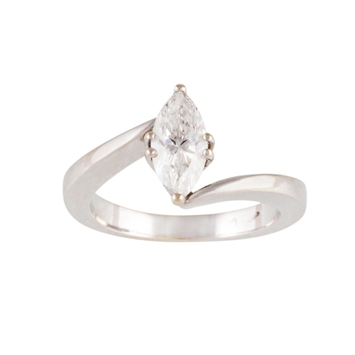 1 - A DIAMOND SOLITAIRE RING, mounted in 18ct white gold. Together with HRD report stating diamond to we...