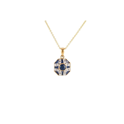 13 - A SAPPHIRE AND DIAMOND PENDANT, mounted in 9ct yellow gold, together with chain...
