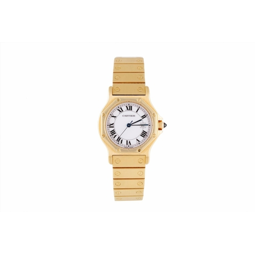 135 - AN 18CT GOLD CARTIER SANTOS WRIST WATCH, white dial, sapphire winder, bracelet strap, boxed with boo...