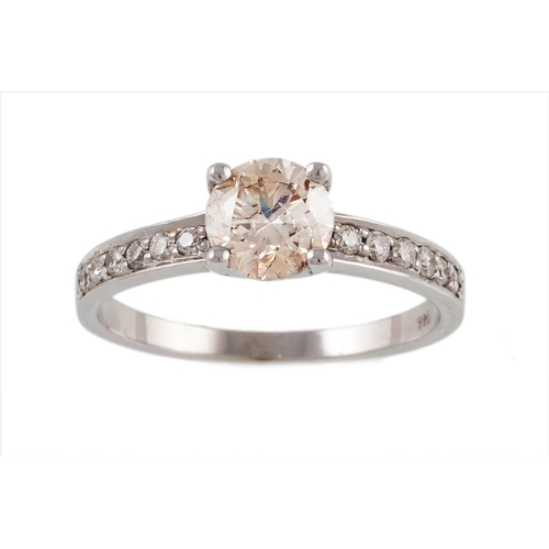 14 - A SOLITAIRE DIAMOND RING, with a diamond set band mounted in 14 ct white gold. Estimated weight of d...