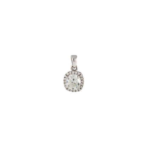 146 - A DIAMOND CLUSTER PENDANT, the old mine cut to a round brilliant cut diamond surround,  mounted in 1...