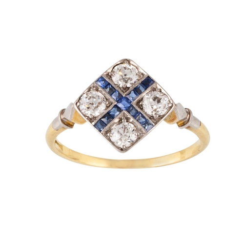 152 - AN ART DECO SAPPHIRE AND DIAMOND DRESS RING, mounted in gold. Estimated; weight of diamonds of 0.52 ...