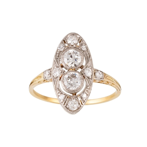164 - AN EDWARDIAN DIAMOND TWO STONE NAVETTE SHAPE RING, Estimated; weight of diamonds: 0.70ct in total, s...