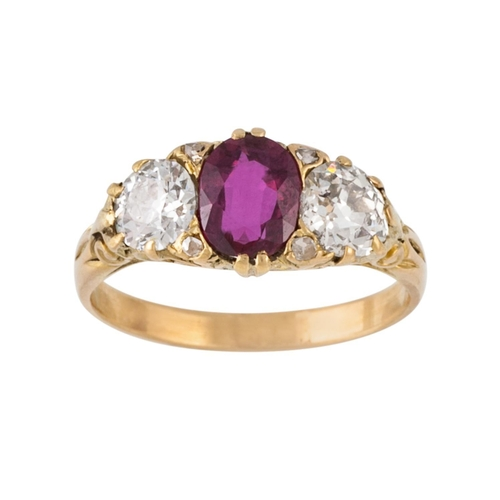 167 - A VICTORIAN RUBY AND DIAMOND THREE STONE CARVED RING, Estimated; weight of ruby 0.90ct and diamonds ...