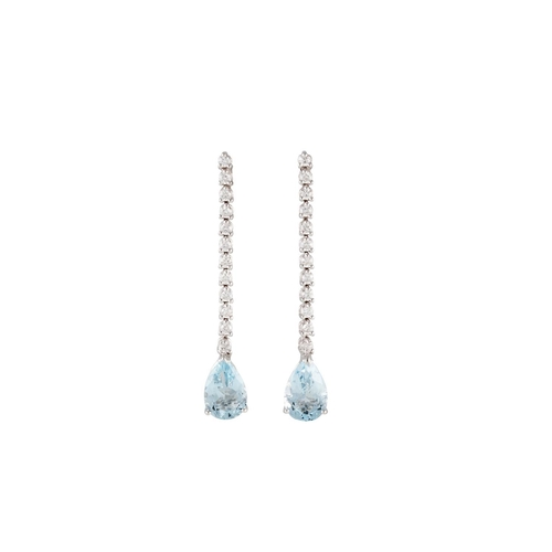 175 - A PAIR OF AQUAMARINE AND DIAMOND DROP EARRINGS, mounted in 18ct white gold. Estimated weight of aqua...
