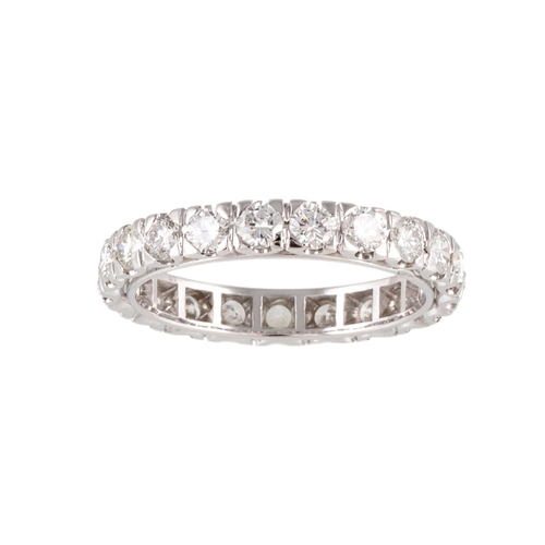 182 - A DIAMOND FULL ETERNITY RING, set with round brilliant cut diamonds, mounted in 18ct white gold. Est...