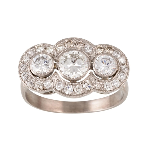 197 - A DIAMOND TRIPLE CLUSTER RING, with diamonds of approx 1.44ct, size K....