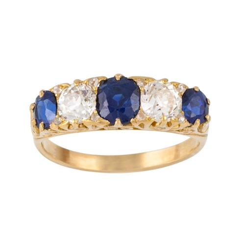 200 - A VICTORIAN SAPPHIRE AND DIAMOND CARVED DRESS RING, with sapphires of approx 1.59ct and diamonds of ...