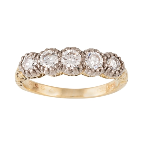 204 - A DIAMOND FIVE STONE RING, with diamonds of approx 0.80ct in total, mounted in an 18ct gold carved s...