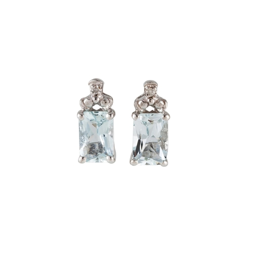 21 - A PAIR OF DIAMOND AND AQUAMARINE EARRINGS, stud design, mounted in white gold...