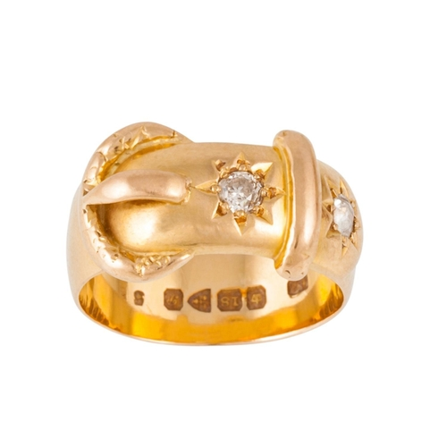 275 - AN 18CT GOLD BUCKLE RING, circa 1915, with diamonds of approx 0.18ct in total, size M...