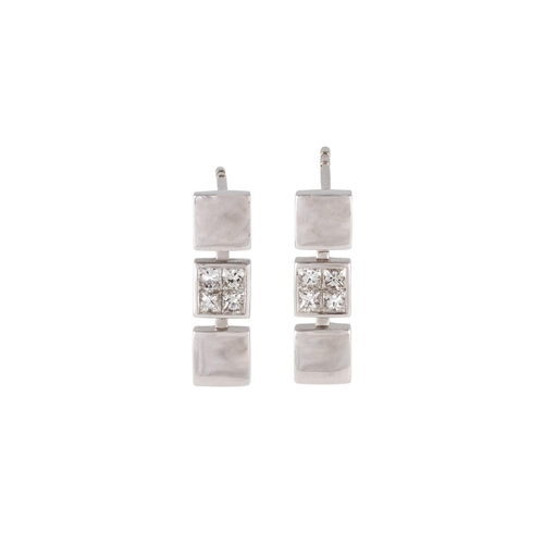 30 - A PAIR OF DIAMOND SET EARRINGS, set with princess cut diamonds, mounted in white gold. Estimated; we...