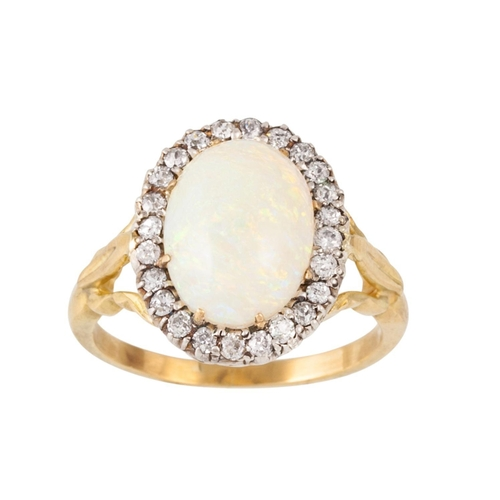 302 - AN OPAL AND DIAMOND OVAL CLUSTER RING, one oval cabochon opal of approx 2.52ct and diamonds of appro...