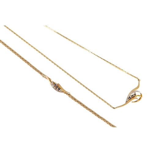 311 - A SAPPHIRE AND DIAMOND NECKLACE together with a matching bracelet, mounted in 9ct yellow gold, 11.1 ...