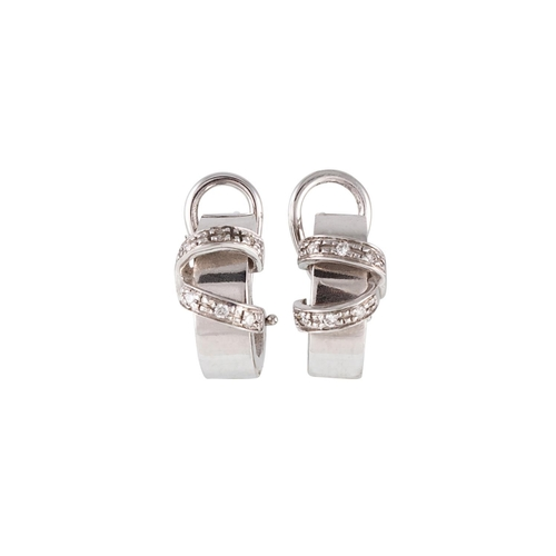 32 - A PAIR OF DIAMOND SET HOOP EARRINGS, mounted in white gold...