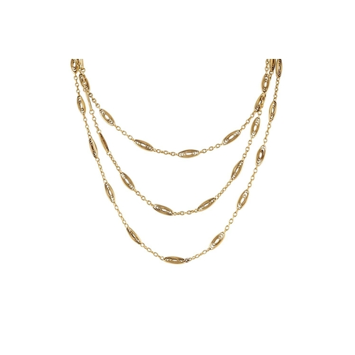 325 - A 14CT YELLOW GOLD FANCY LINK CHAIN, 41.4 GRAMS...