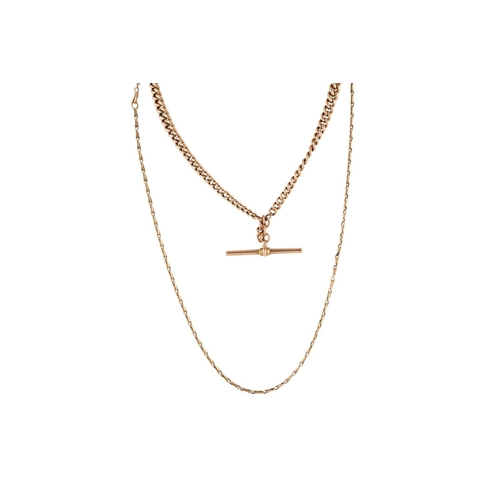 330 - A 9CT GOLD CHAIN, together with a 9ct Albert chain....