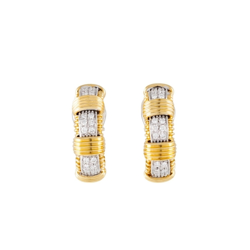 348 - A PAIR OF DIAMOND CLIP EARRINGS, with diamonds of approx 0.36ct, mounted in 18ct yellow and white go...