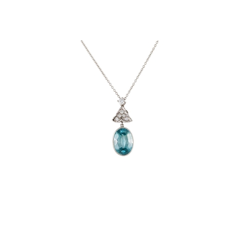 349 - A BLUE ZIRCON AND DIAMOND PENDANT AND CHAIN, the Zircon of approx 7.00 ct and diamonds of approx 0.1...