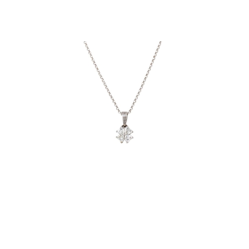 355 - A DIAMOND PENDANT AND CHAIN, with round and heart shape diamonds of approx 0.60ct in total, mounted ...