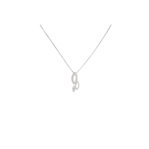 36 - A DIAMOND SET PENDANT, the oval panels set with diamonds, mounted in 18ct white gold...