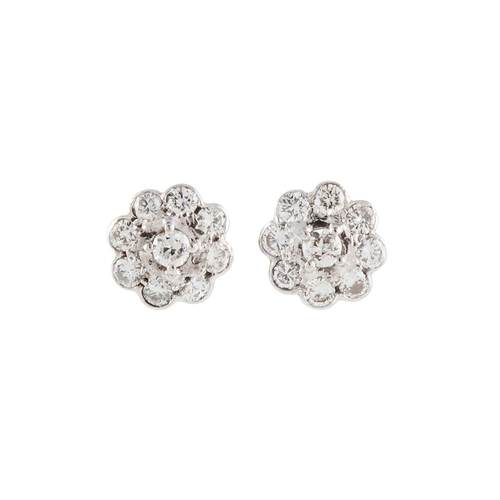 360 - A PAIR OF DIAMOND CLUSTER EARRINGS, with diamonds est. at 1.10ct G/H Si in total, mounted in 18ct wh...