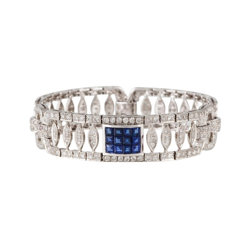 361 - A SAPPHIRE AND DIAMOND FANCY BRACELET, with sapphires of approx 1.44ct and diamonds of approx 2.92 c...