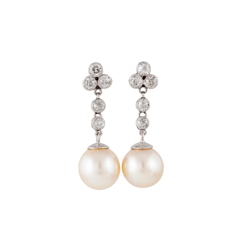 363 - A PAIR OF CULTURED PEARL AND DIAMOND DROP EARRINGS, with two 9 - 9½mm cultured pearls, and diamonds ...